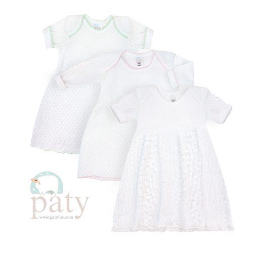 Paty Knit White Lap Shoulder Dress