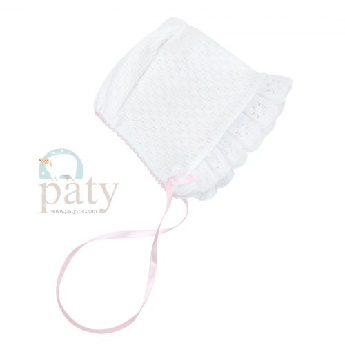 Paty Knit White Bonnet with Pink Trim and Ribbon Tie