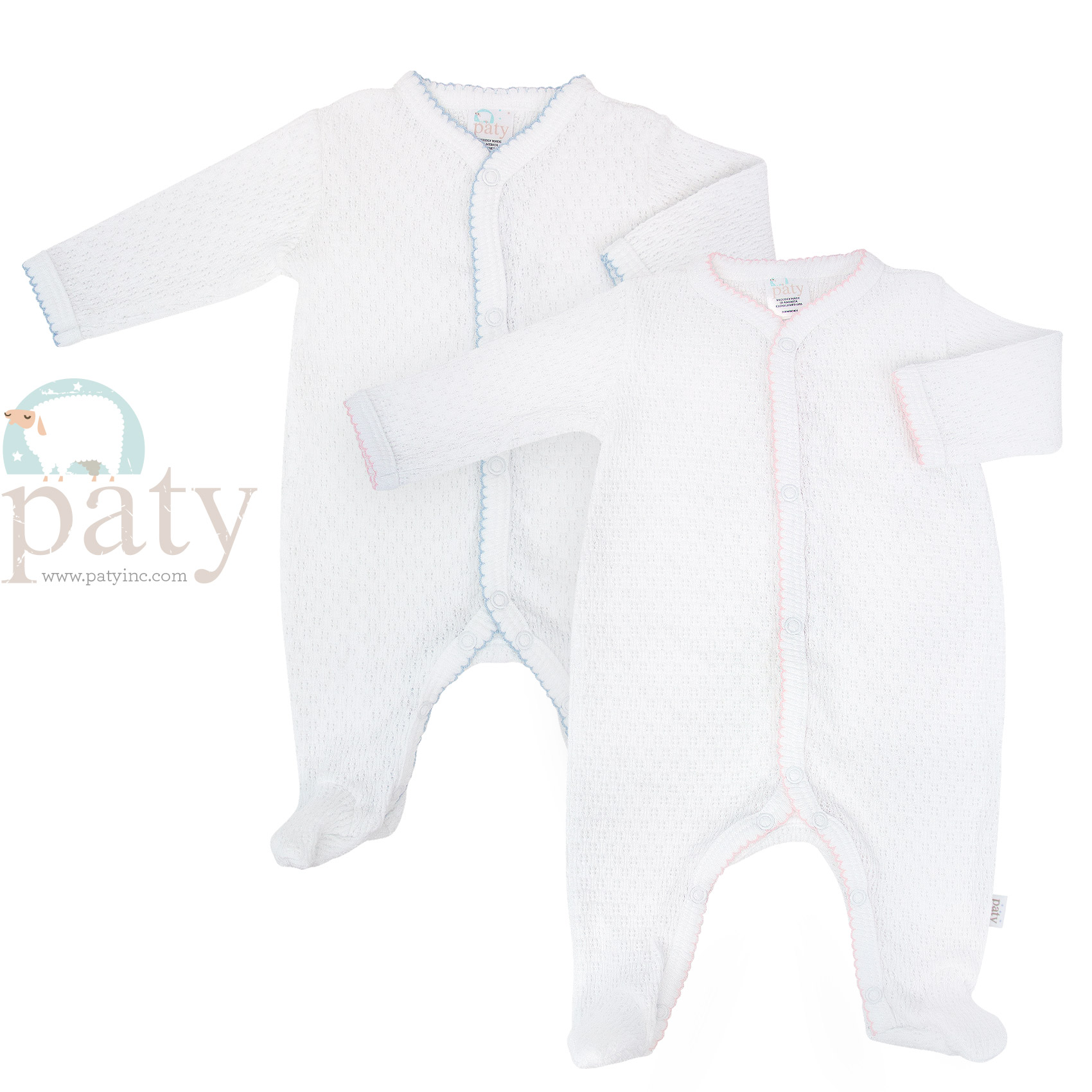 Paty White LS Knit Footie with Trim Options