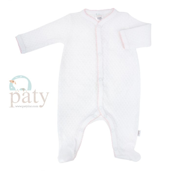 Paty White LS Knit Footie with Pink Trim