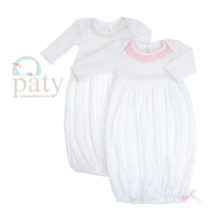 Paty LS Lap Shoulder Gown Chiffon Trim
