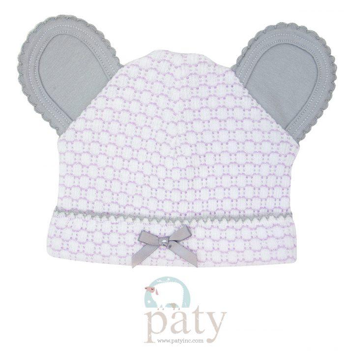Paty Lavender Pinstripe Bear Cap w/ Grey Trim