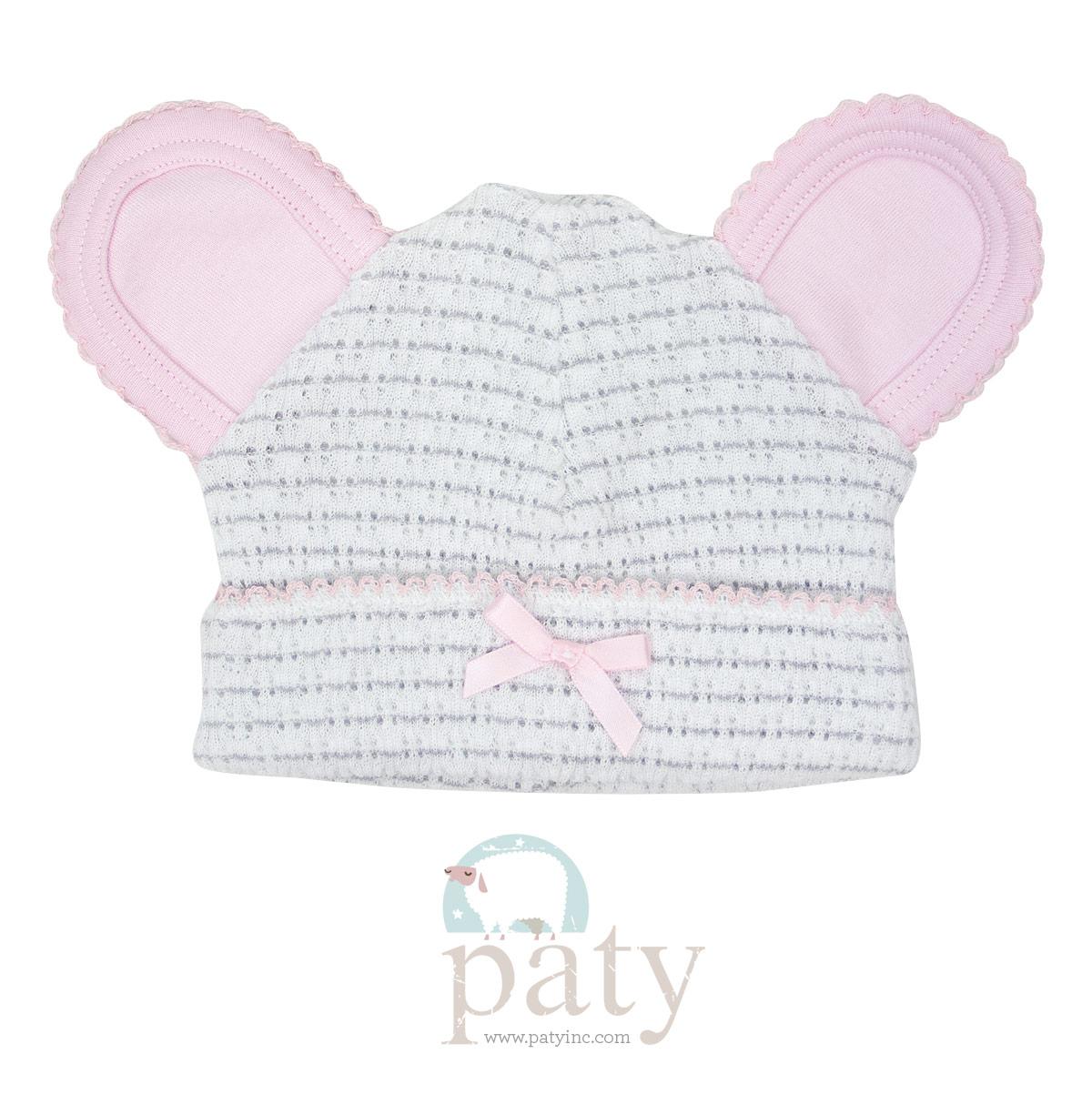 Paty Grey Pinstripe Bear Cap w/ Pink Trim