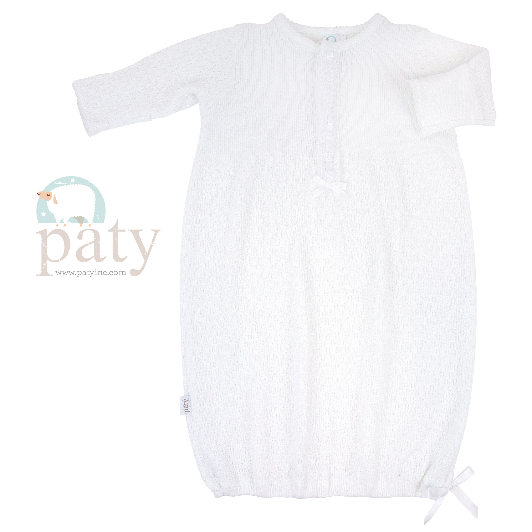 Paty White LS Gown w/ Eyelet Trim