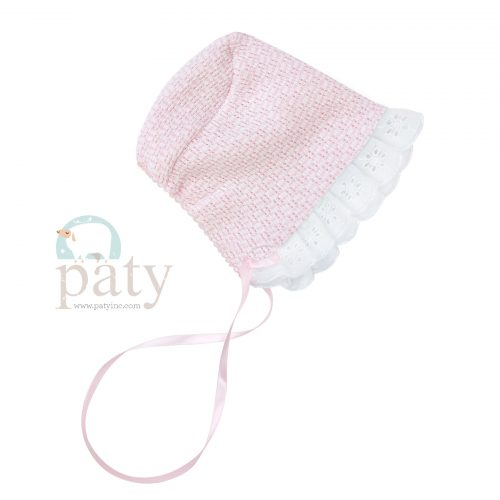 Paty Knit Solid Color Bonnet with Eyelet & Ribbon Tie