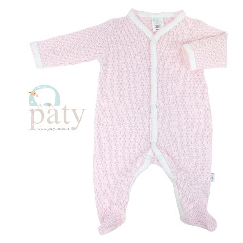 Pink Solid Color Paty Knit Footie