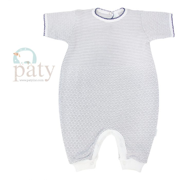 Grey with Navy Blue Trim Short Sleeve Romper with Key Hole Back