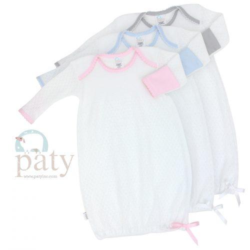 White Knit LS Lap Shoulder Gown w/ Trim Options