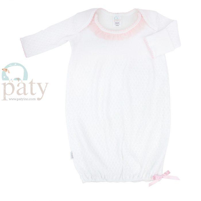 Lap Shoulder Gown w/ Pink Chiffon