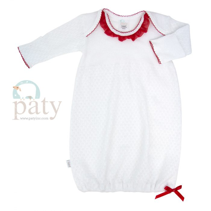 Lap Shoulder Gown w/ Red Chiffon