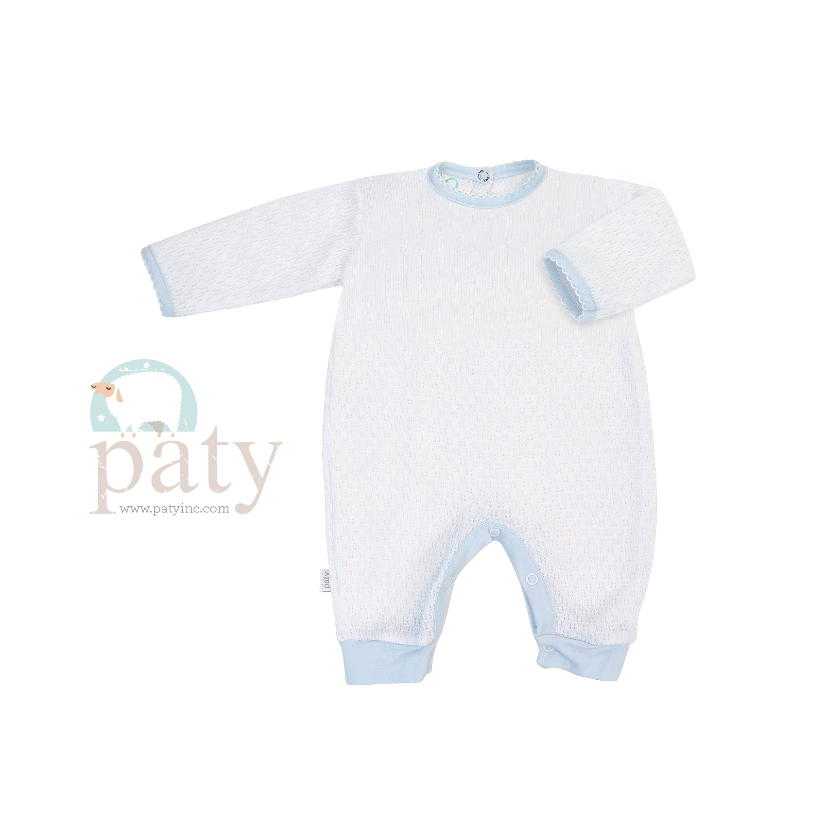 White Paty Knit Romper with Blue Cotton Trim Option