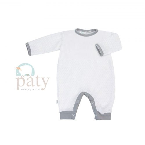 White Paty Knit Romper with Grey Cotton Trim Option