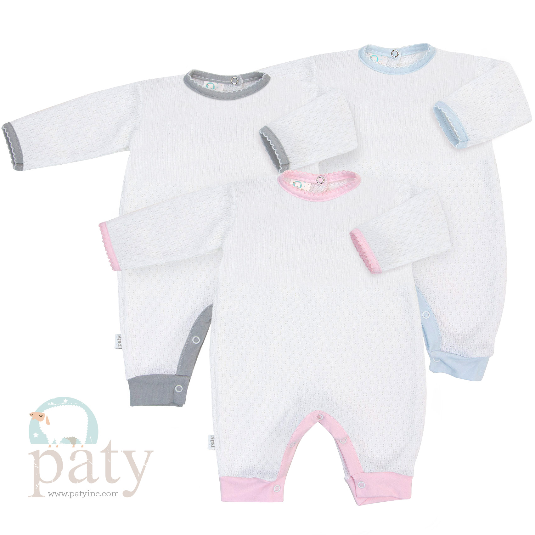 Paty Knit Romper with Cotton Trim Options