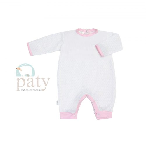 White Paty Knit Romper with Pink Cotton Trim Option