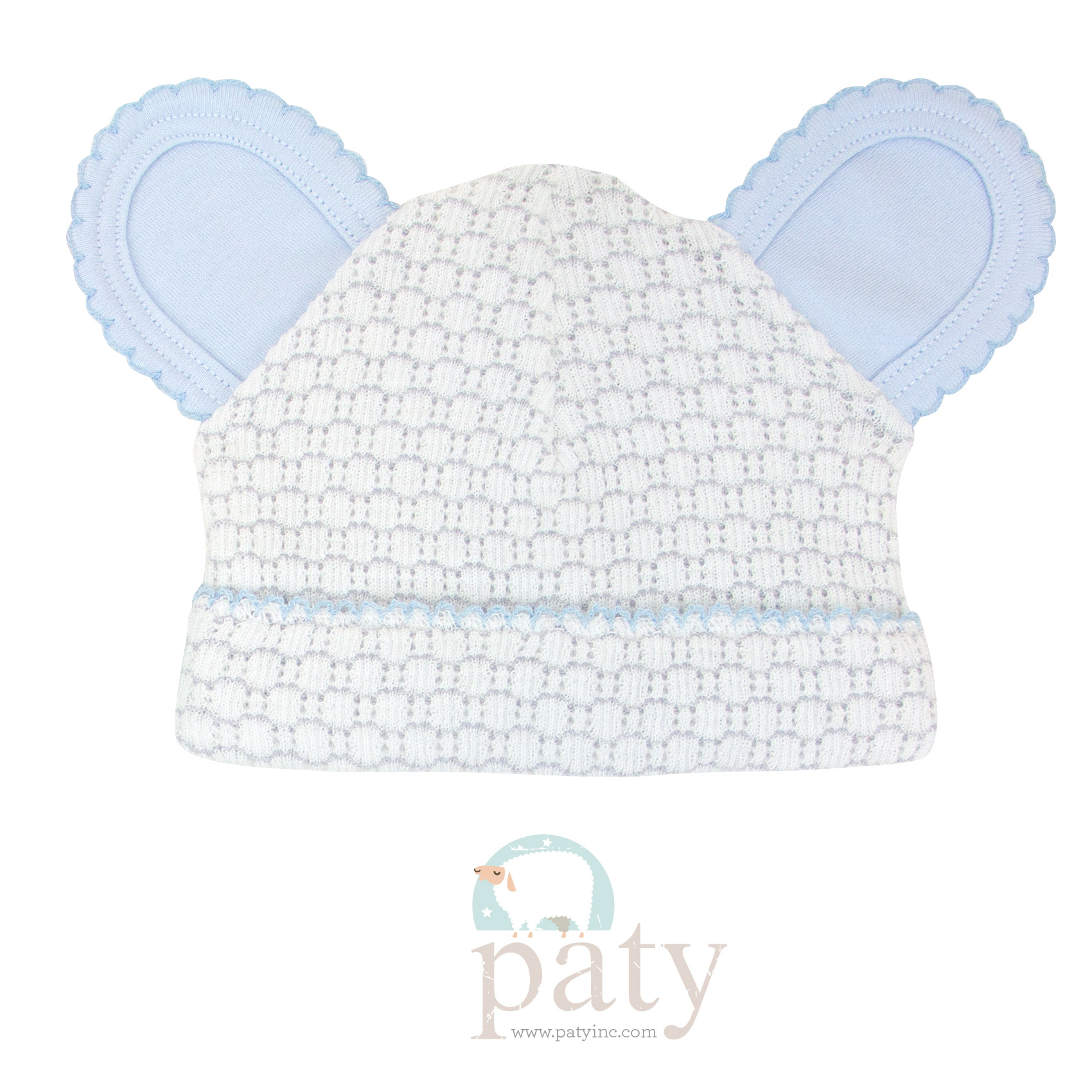 Paty Grey Pinstripe Bear Cap w/ Blue Trim