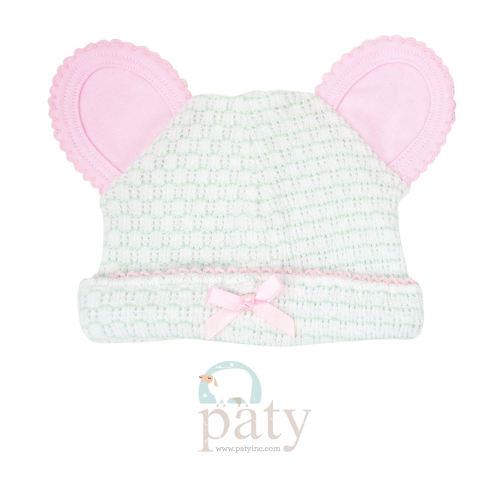 Paty Mint Pinstripe Bear Cap w/ Pink Trim