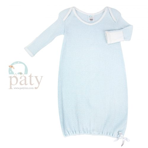 Paty Long Sleeve Blue with White Trim Lap Shoulder Rib Knit Gown