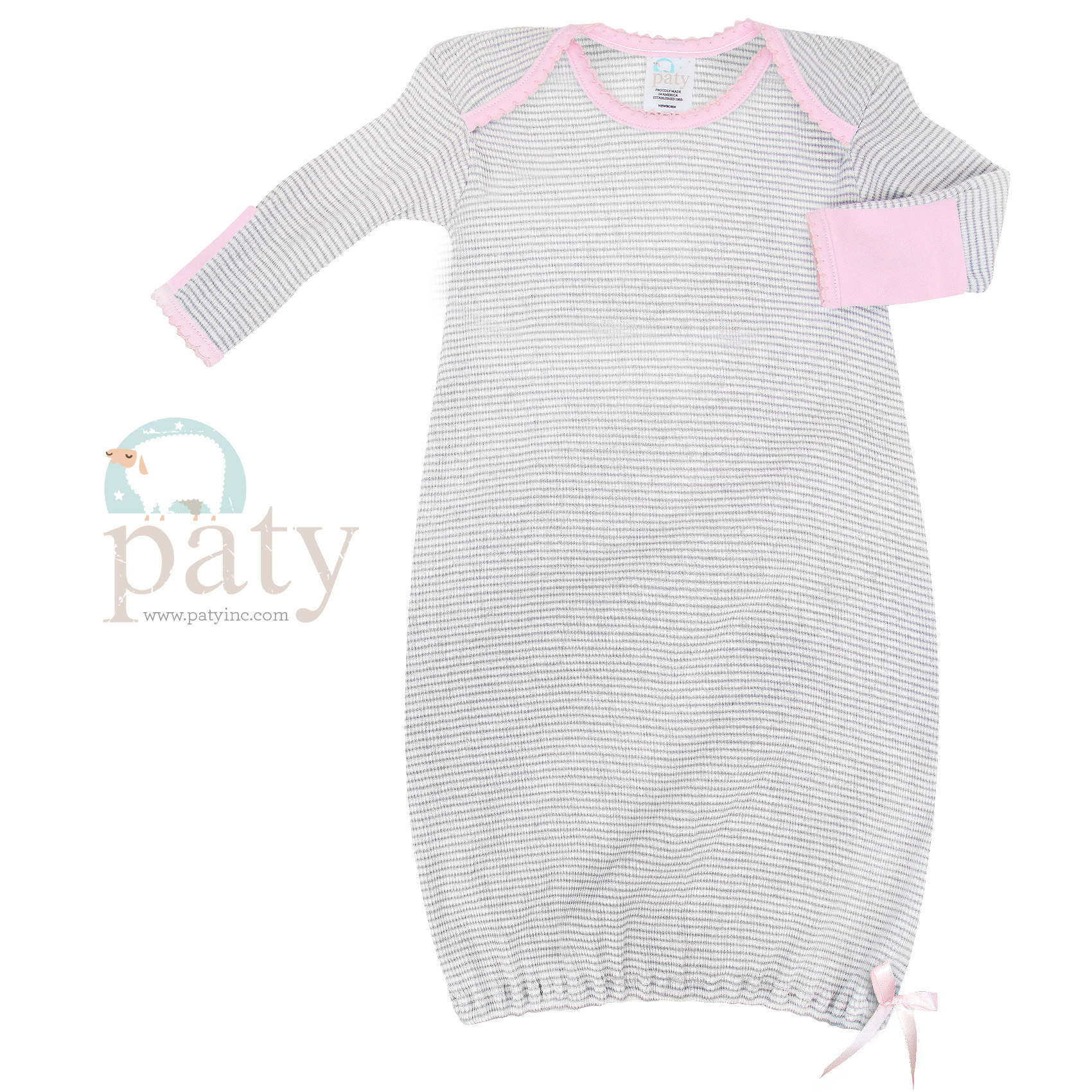 Paty Long Sleeve Grey with Pink Trim Lap Shoulder Rib Knit Gown