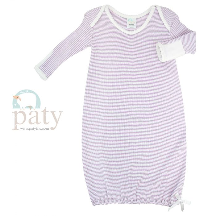 Paty Long Sleeve Lavender with White Trim Lap Shoulder Rib Knit Gown