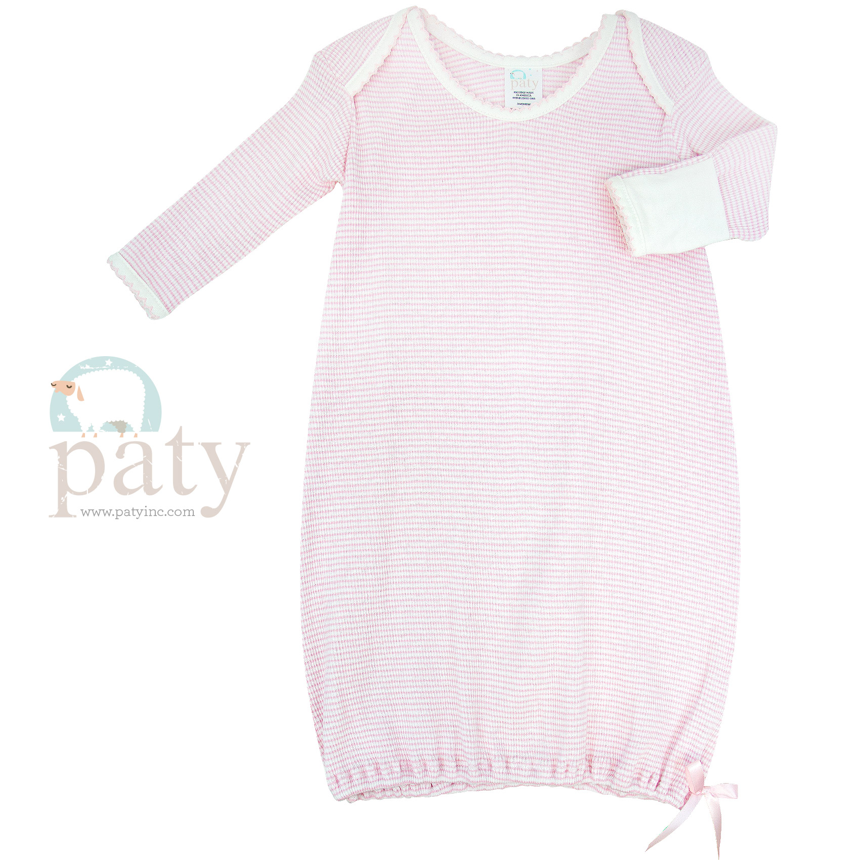 Paty Long Sleeve Pink with White Trim Lap Shoulder Rib Knit Gown