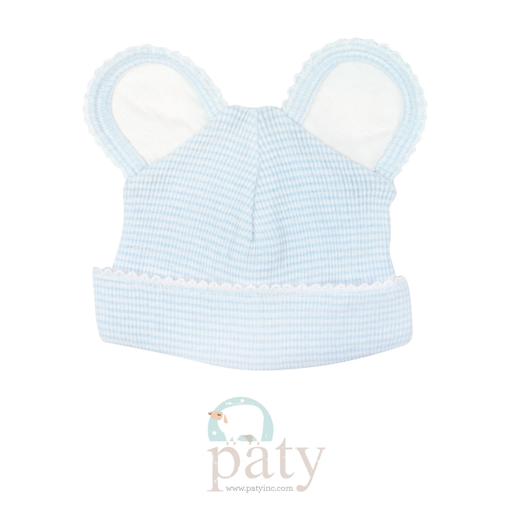 Paty Rib Knit Blue with White Trim Bear Cap