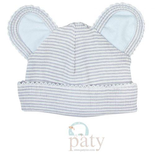 Paty Rib Knit Grey with Blue Trim Bear Cap