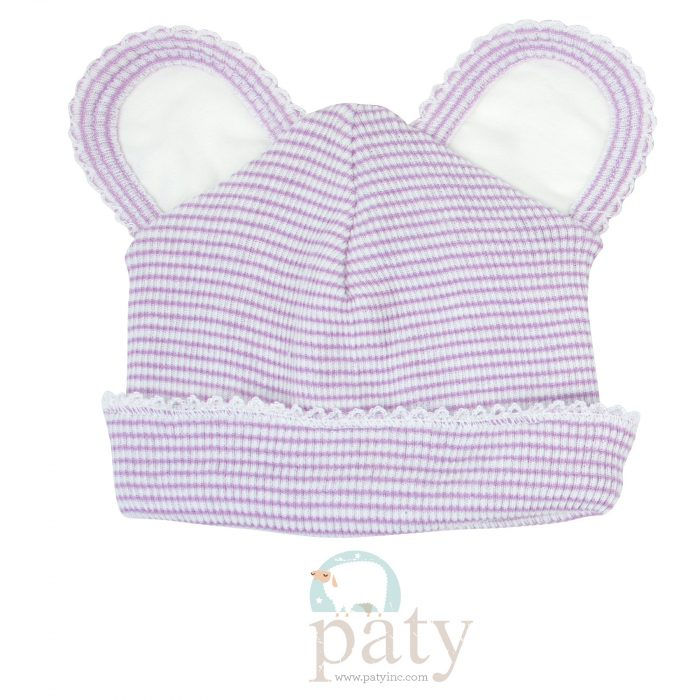 Paty Rib Knit Lavender with White Trim Bear Cap