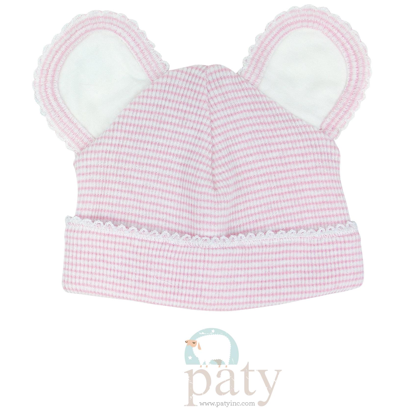 Paty Rib Knit Pink with White Trim Bear Cap
