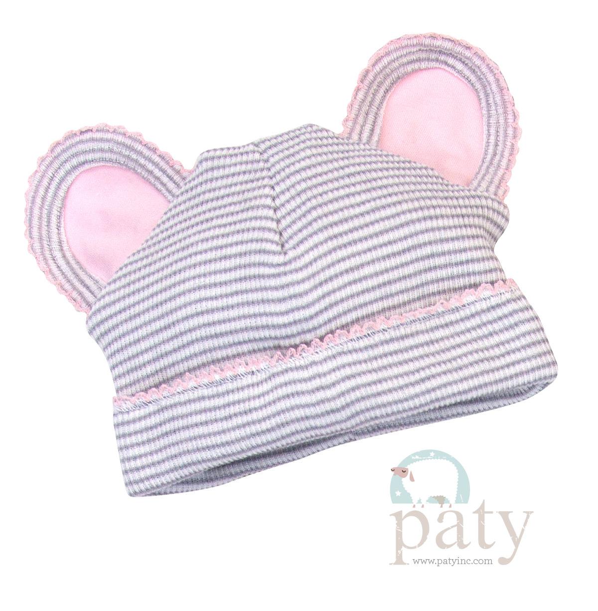 Paty Rib Knit Grey with Pink Trim Bear Cap