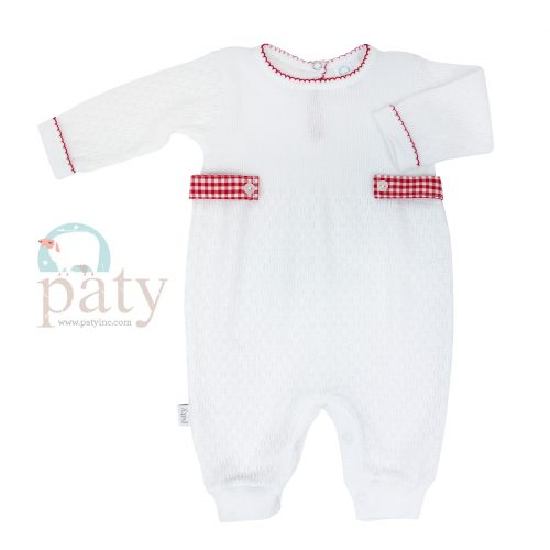 Paty Long Sleeve Romper with Red Gingham Side Tabs