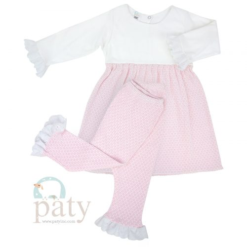 2 PC Set Dress w/ Eyelet Trim & Long Pants