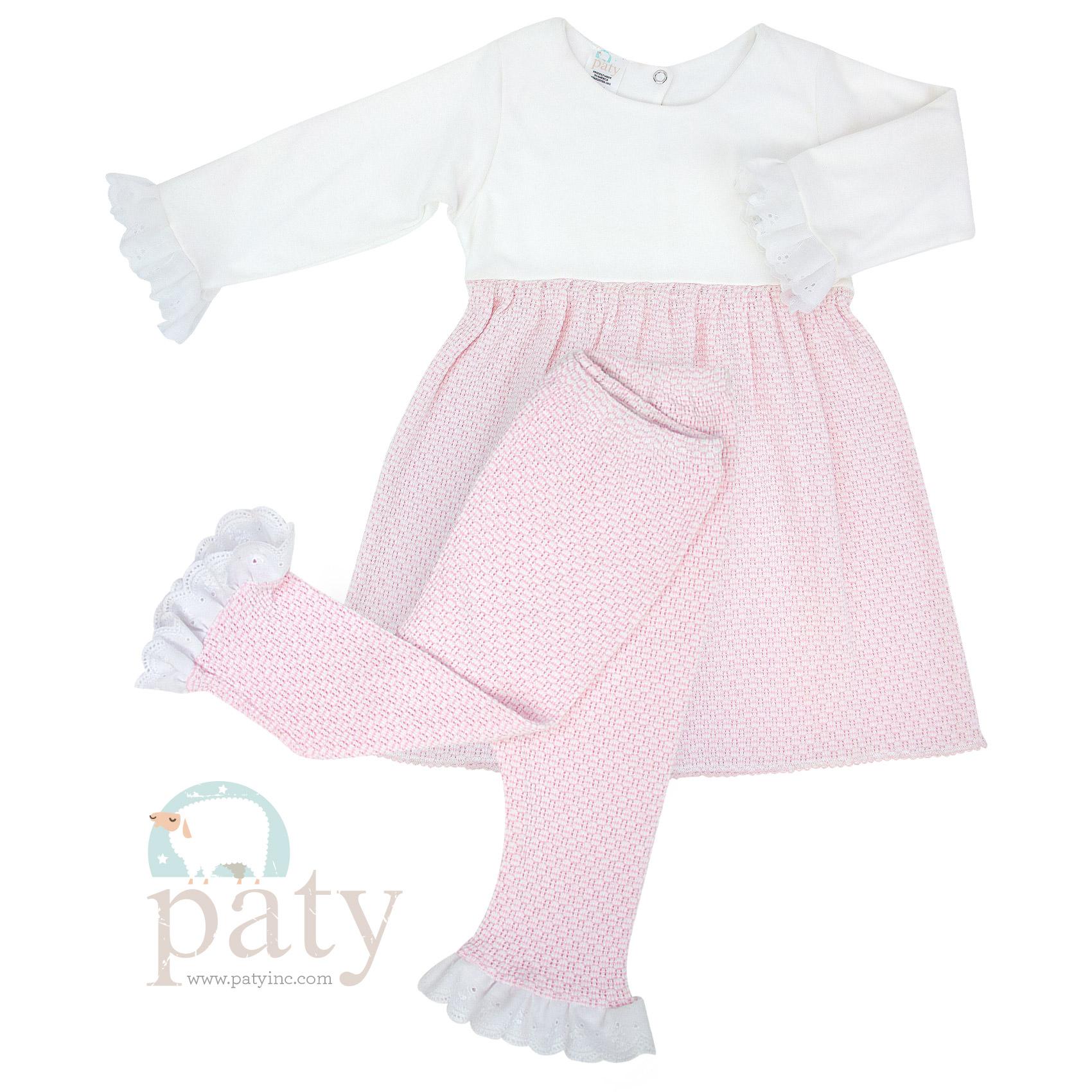 2 PC Set Dress w/ Eyelet Trim & Long Pants