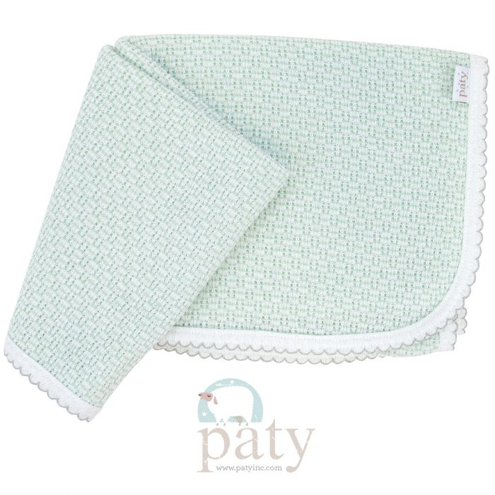 Paty Mint with Grey Trim Receiving Swaddle Blanket