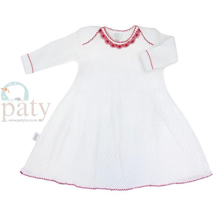 Lap Shoulder Dress with Lace Trim