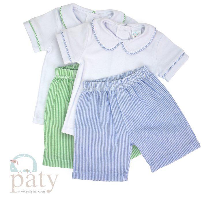 Paty Seersucker Boys 2 PC set, Pima Top w/ Matching Shorts