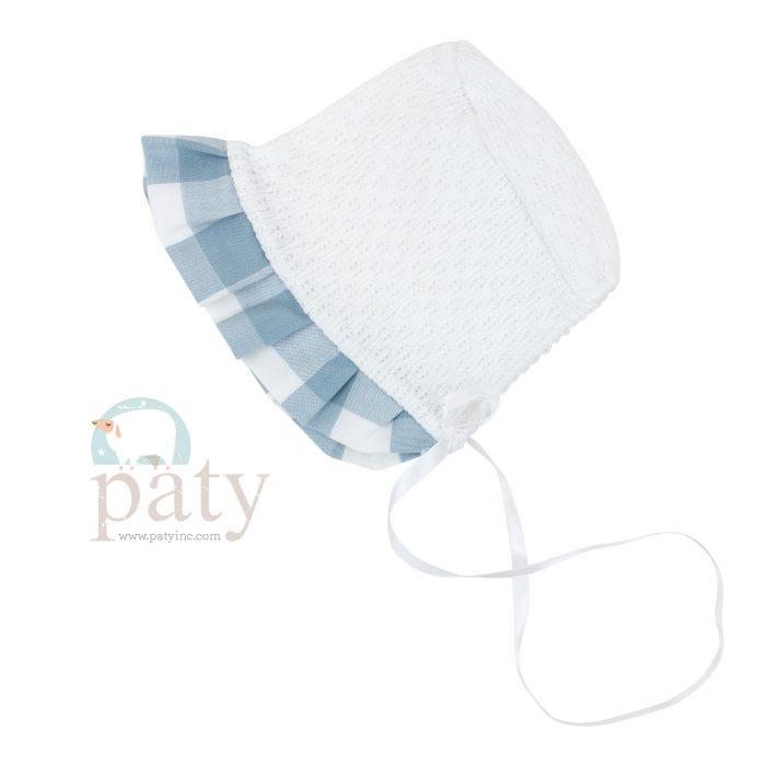 Paty Knit Blue Check Bonnet
