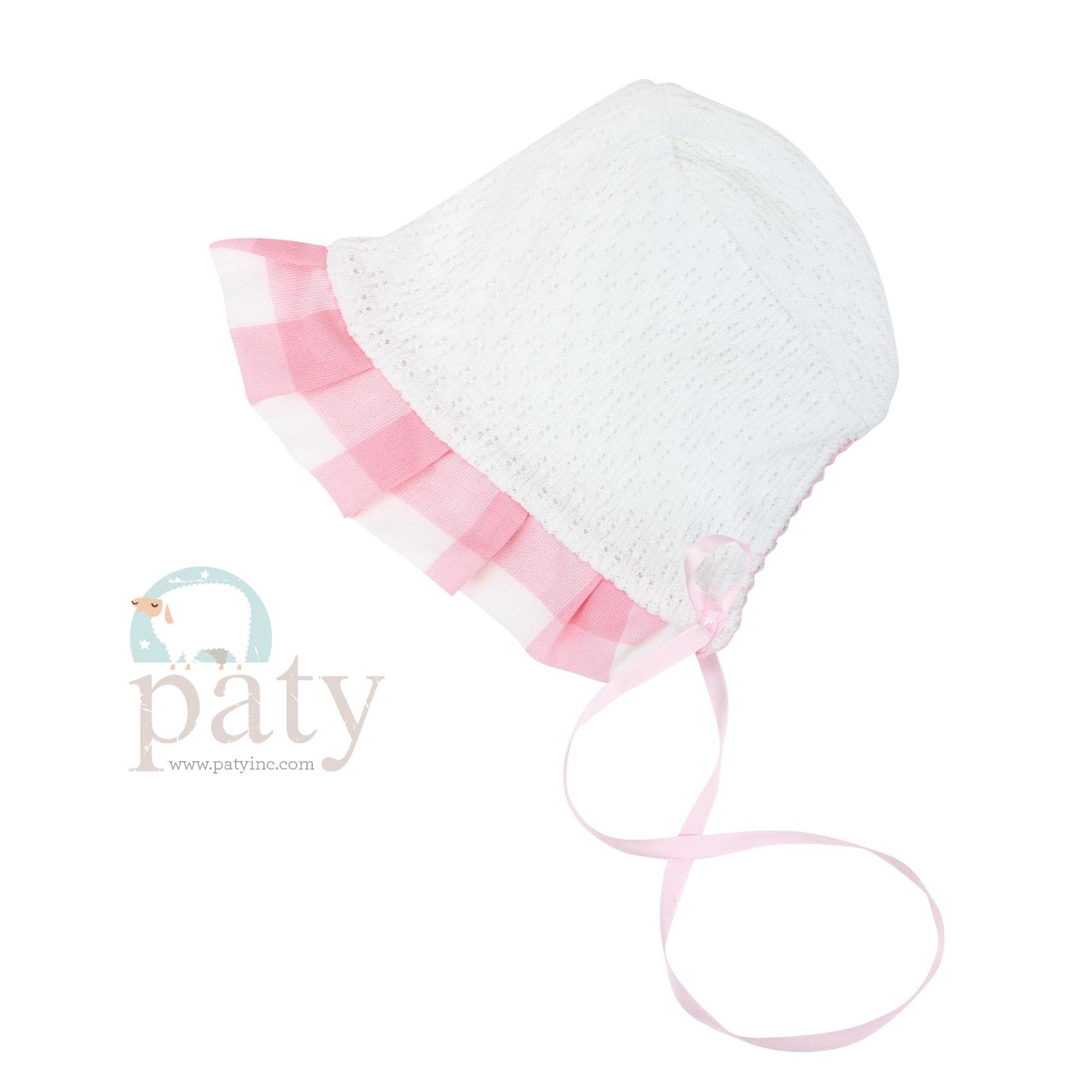 Paty Knit Pink Check Bonnet