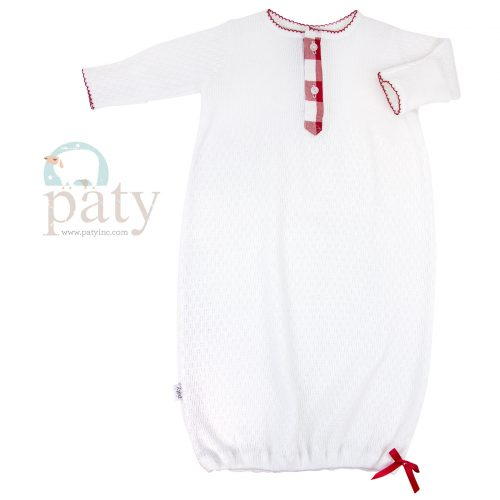 LS Gown, 2 Button Front Red Check Trim