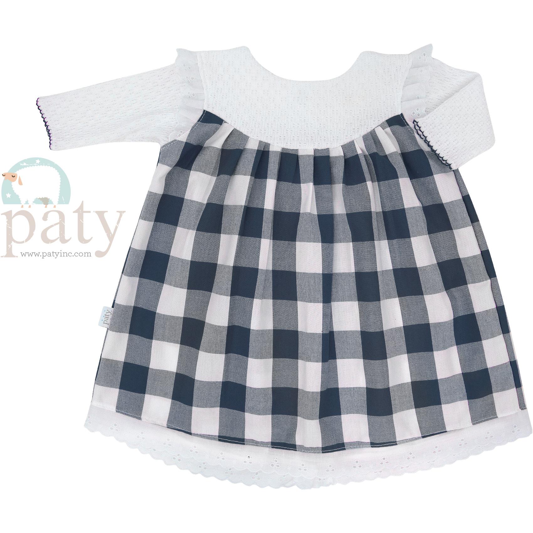 Paty Knit LS Navy Blue Check Dress