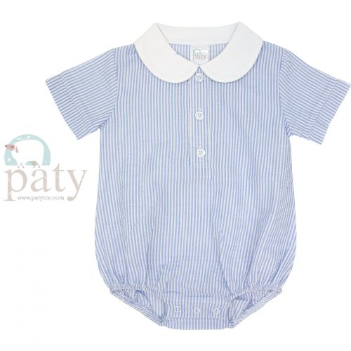 Paty Seersucker Bubble w/ White Pima Collar