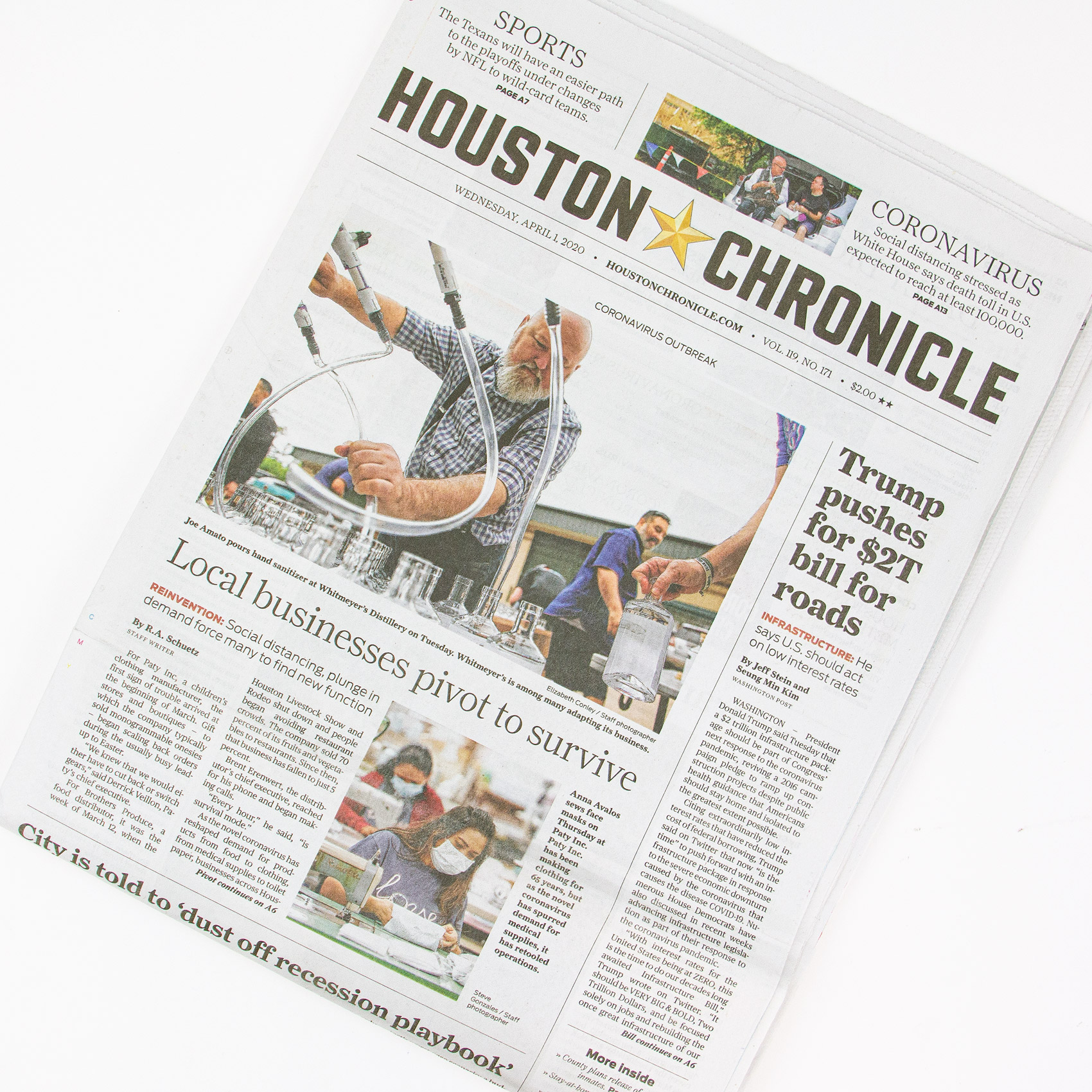 Paty on Houston Chronicle front page