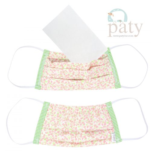Pink Floral Challis with Gingham Face Mask Cover