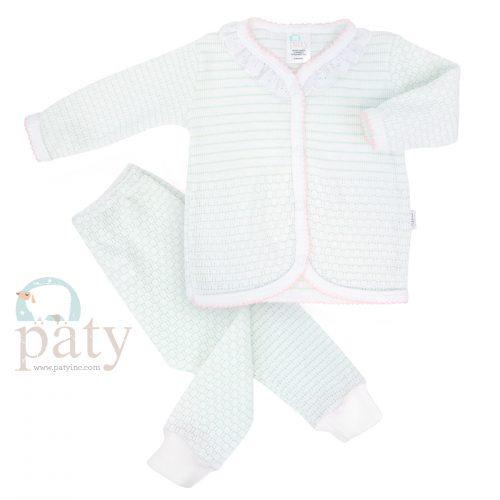 Paty 2 PC Set, LS Top w/ Eyelet Trim and Pants