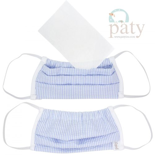 Paty Blue Seersucker Face Mask Cover