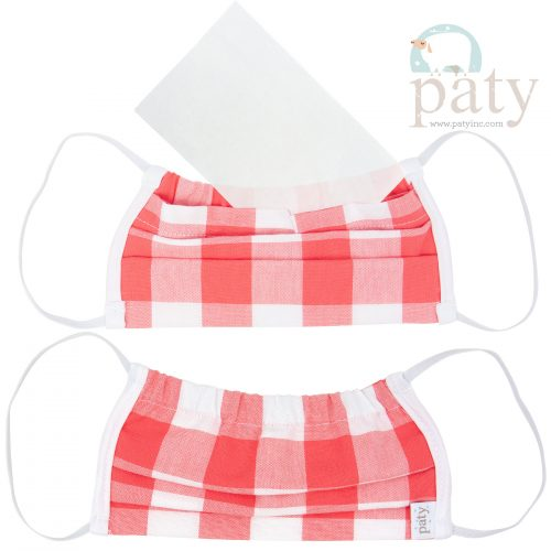 Paty Coral Check Face Mask Cover