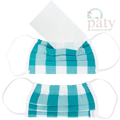 Paty Teal Check Face Mask Cover
