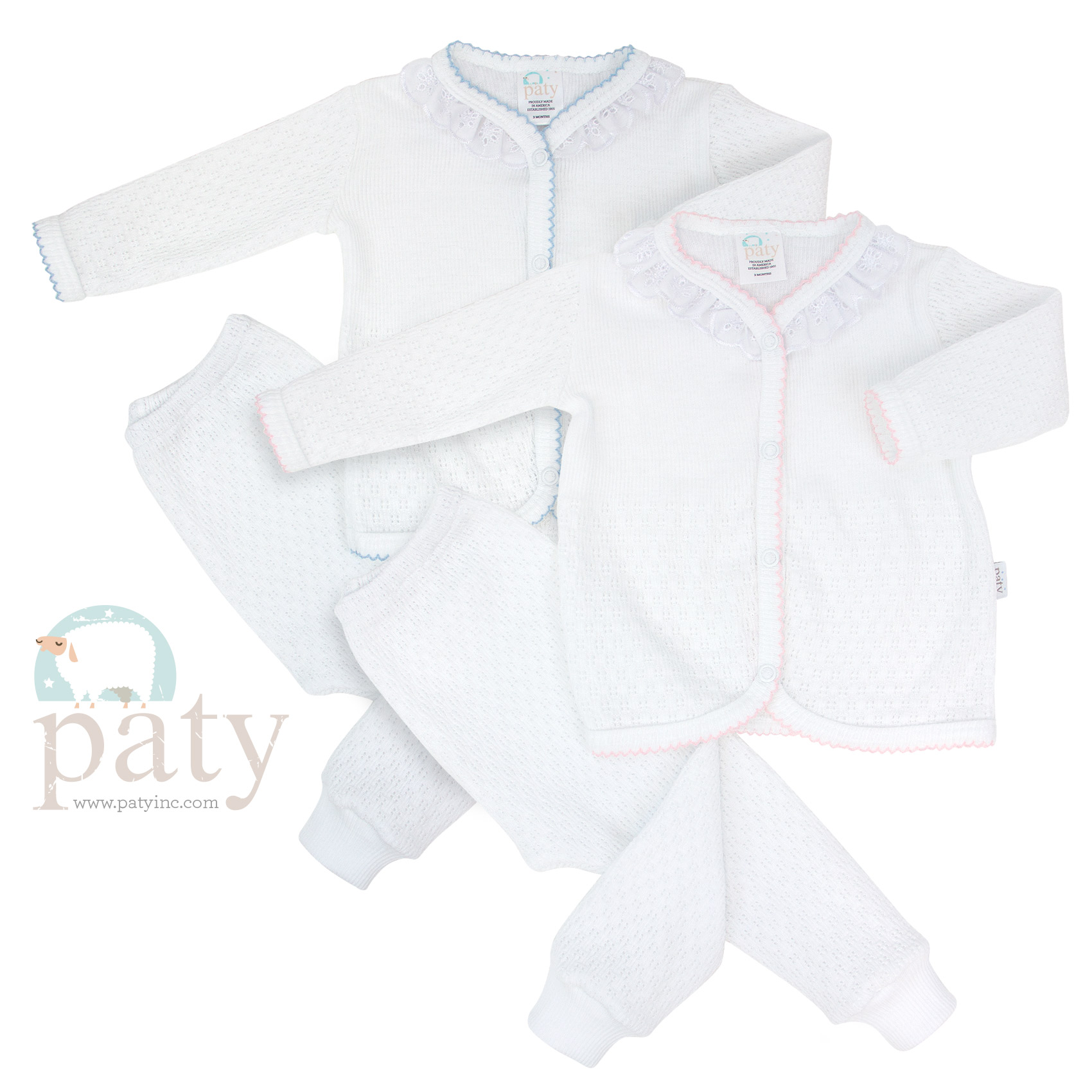 Paty Knit Signature White 2 PC Set with Eyelet Trim and Long Pants