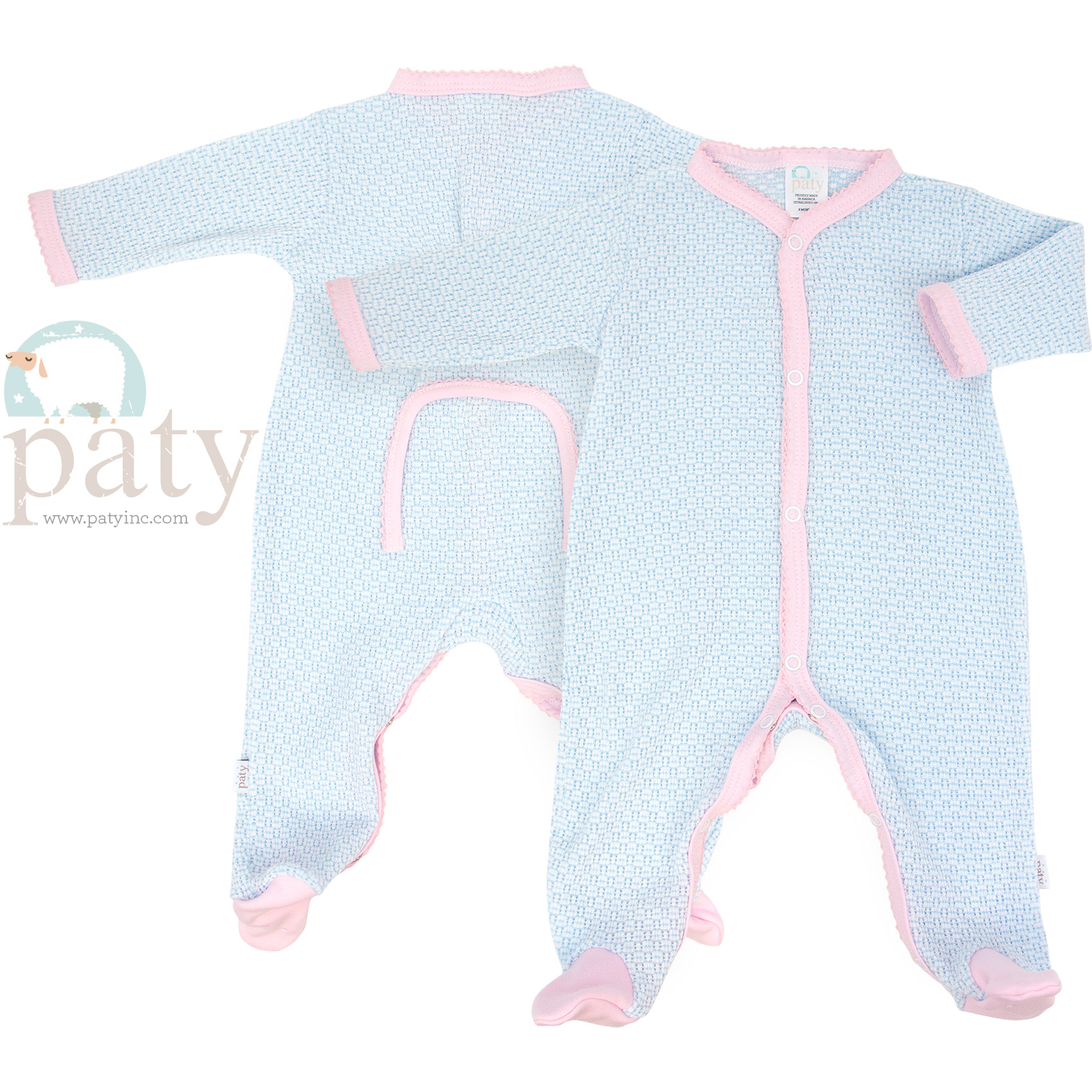Paty Blue and Pink Drop Seat Footie