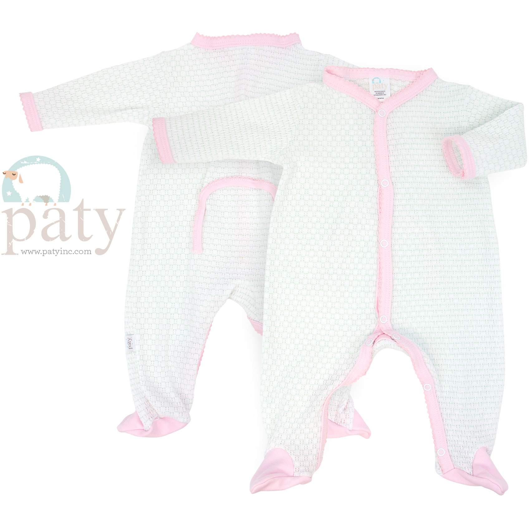 Paty Mint and Pink Drop Seat Footie