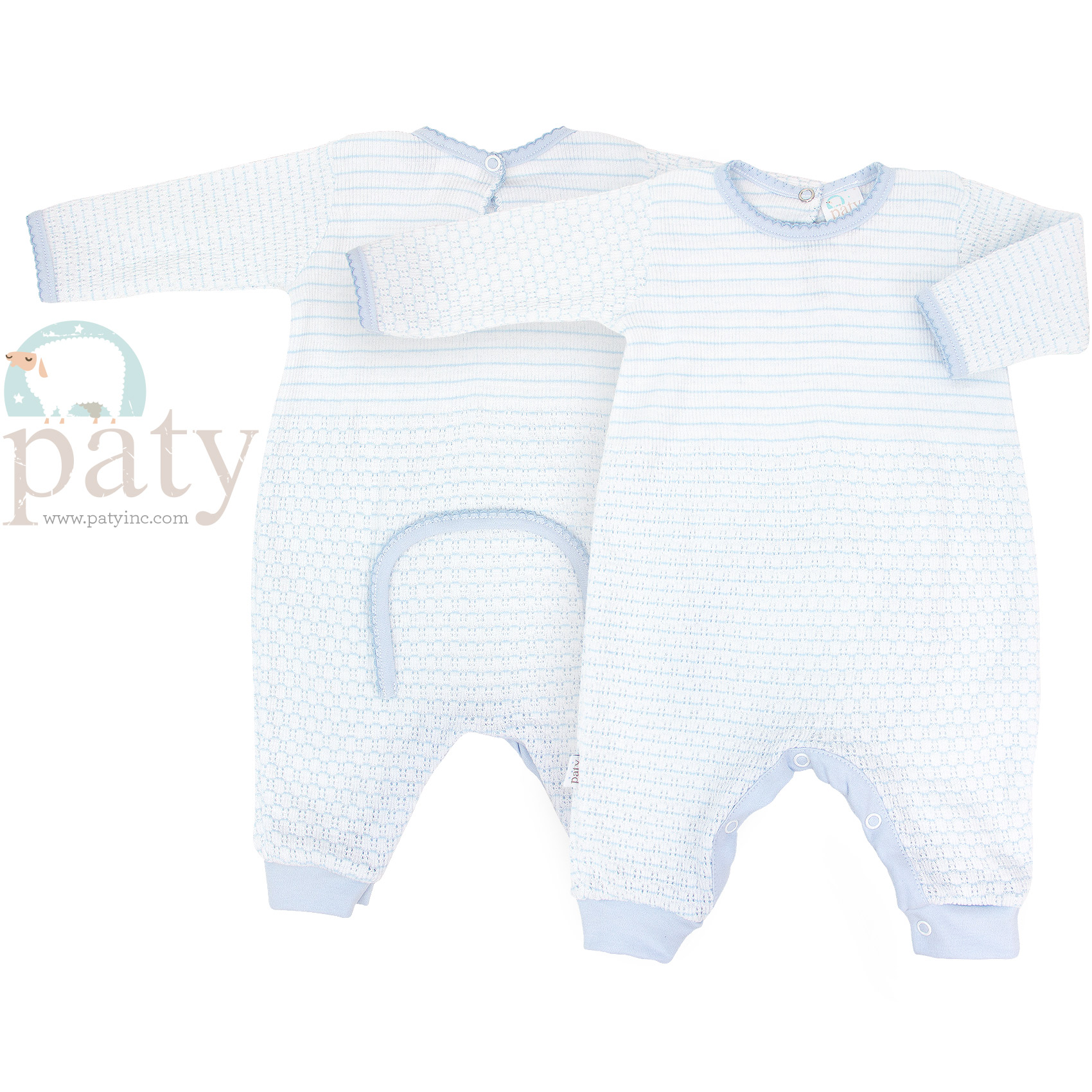 Paty Blue without Eyelet Trim Drop Seat Romper